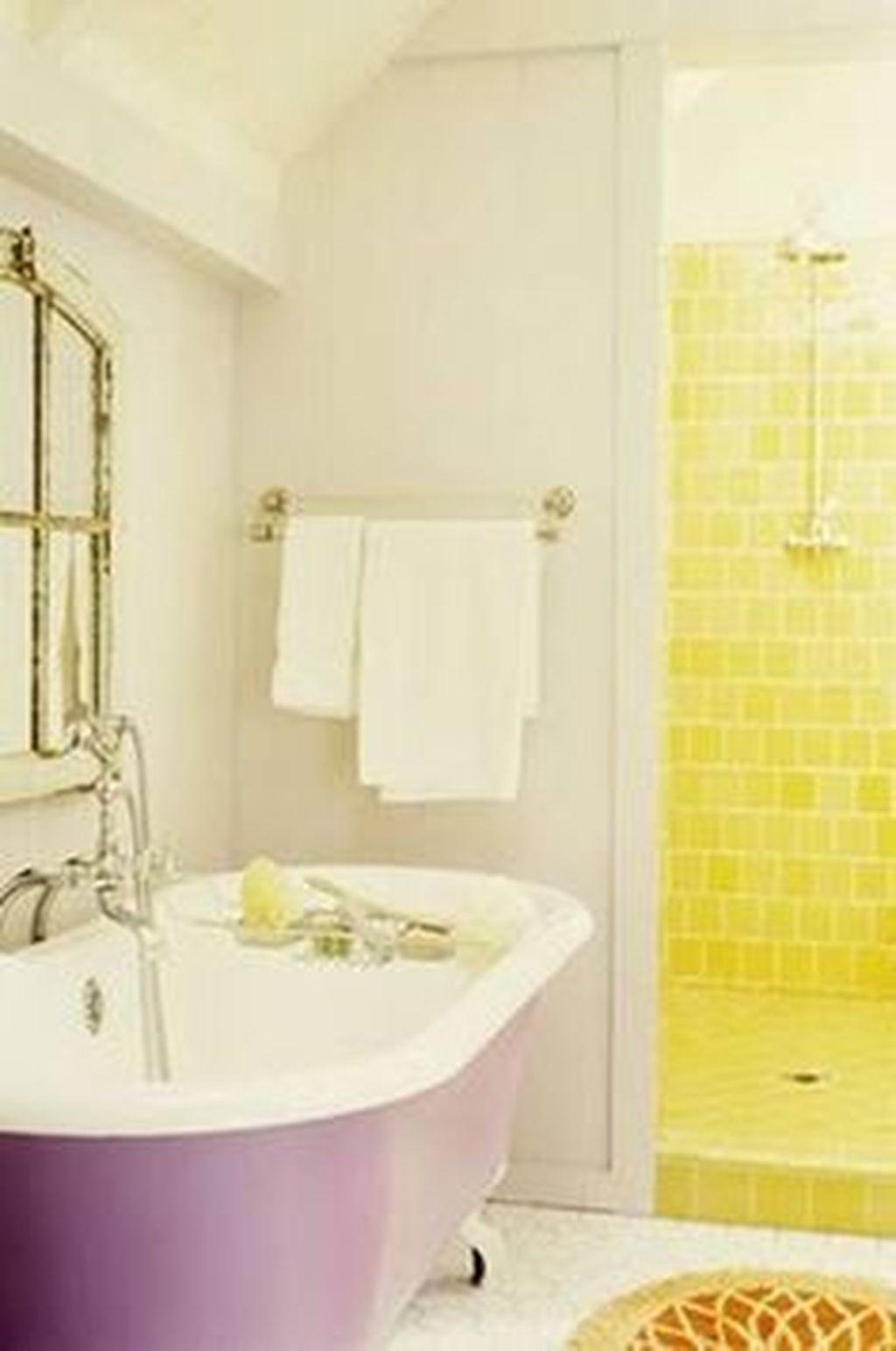 Creative Sunny Yellow Bathroom Decor For Summer 35