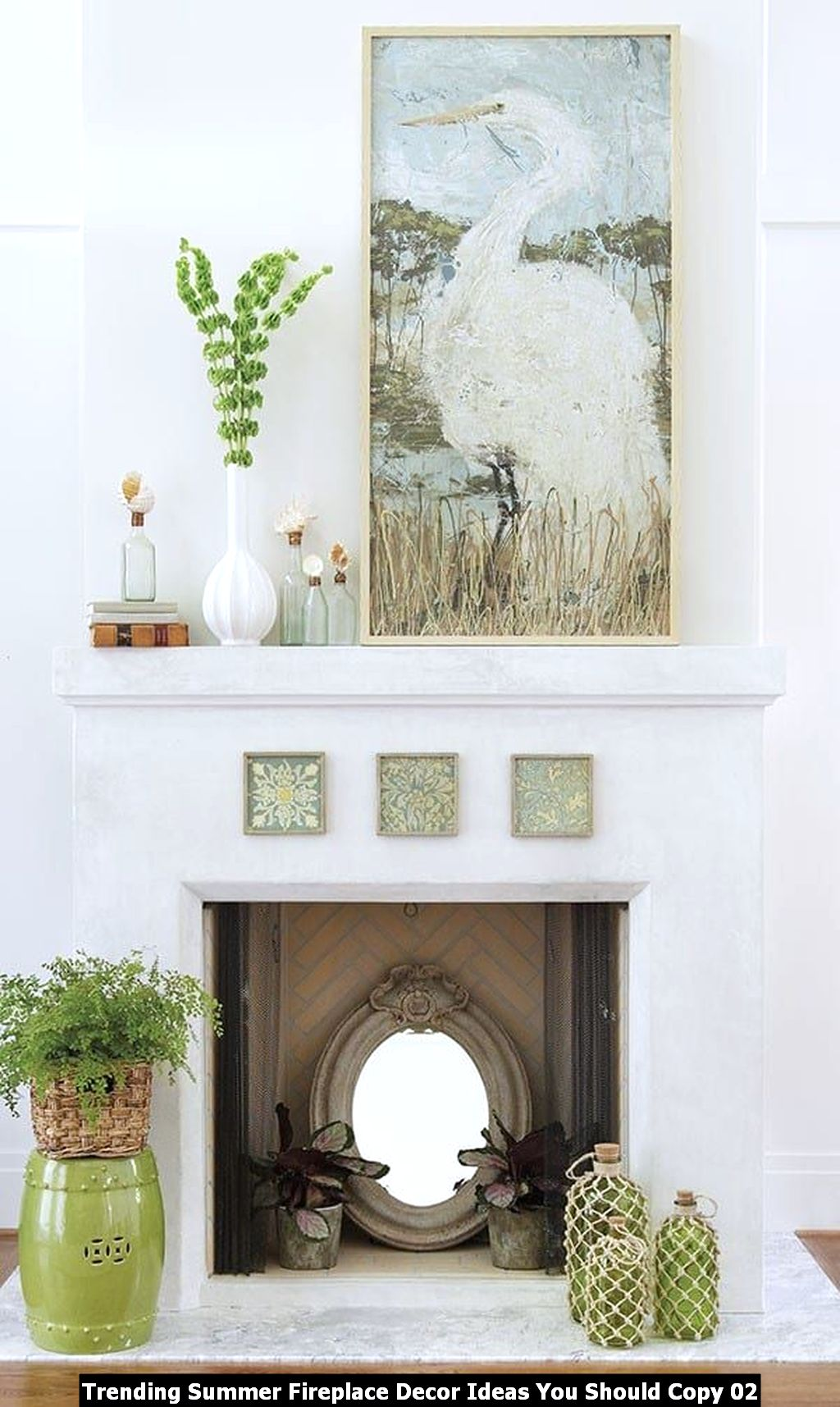 Trending Summer Fireplace Decor Ideas You Should Copy 02