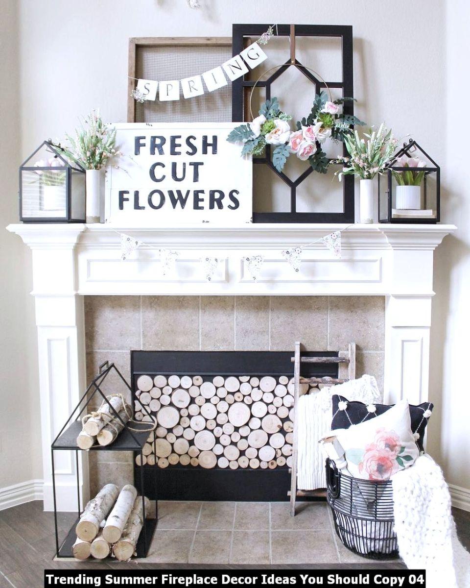 Trending Summer Fireplace Decor Ideas You Should Copy 04