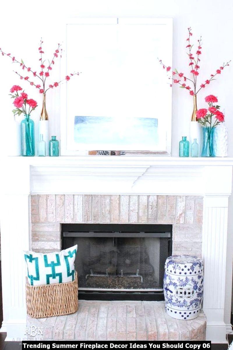 Trending Summer Fireplace Decor Ideas You Should Copy 06