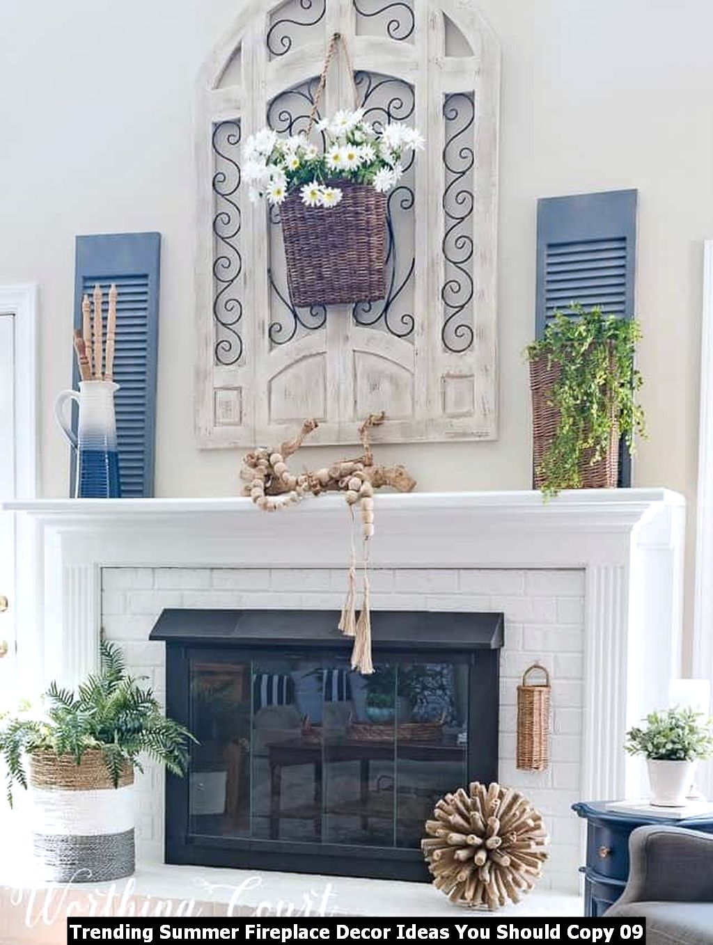 Trending Summer Fireplace Decor Ideas You Should Copy 09