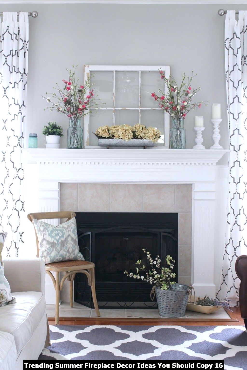 Trending Summer Fireplace Decor Ideas You Should Copy 16