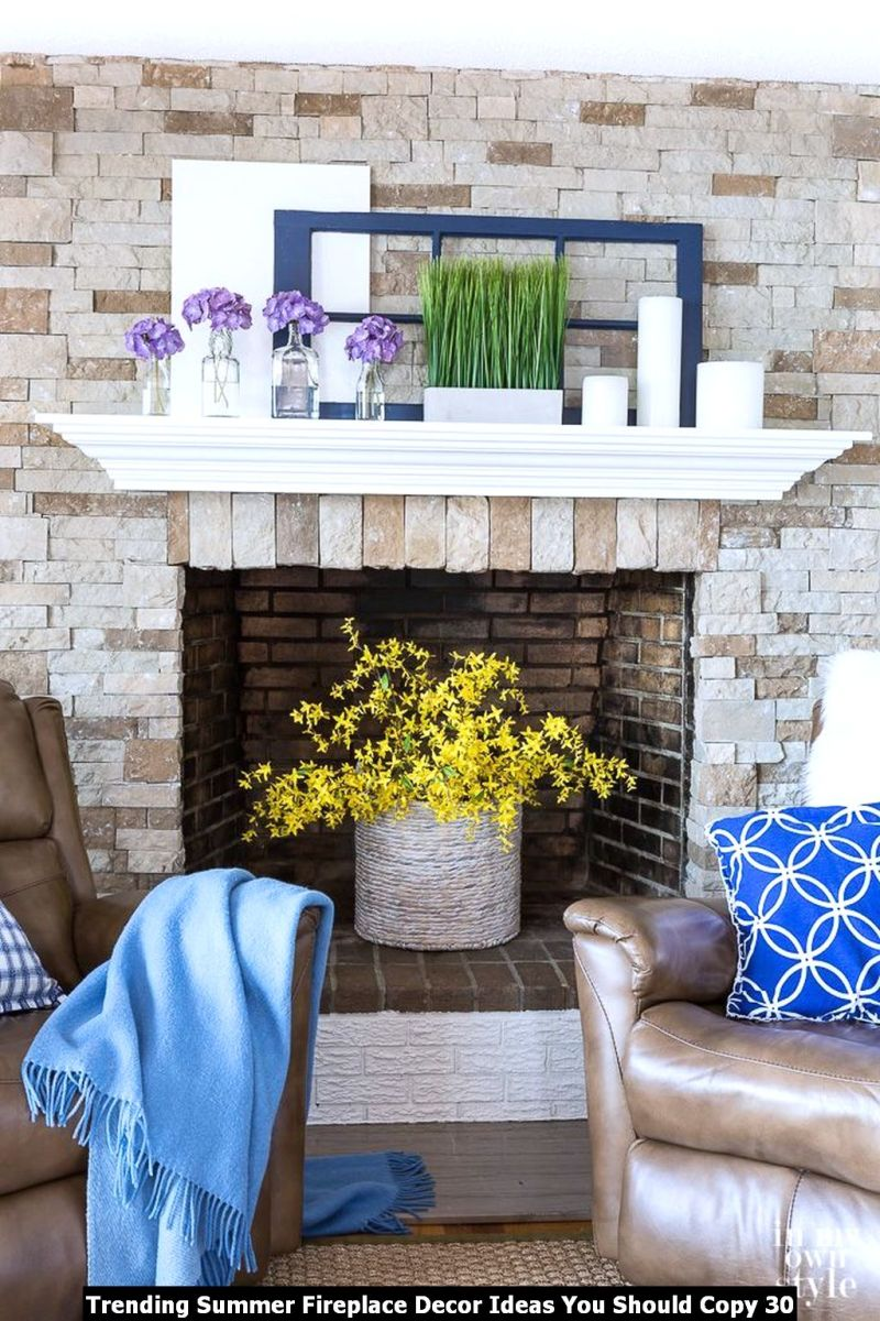 Trending Summer Fireplace Decor Ideas You Should Copy 30