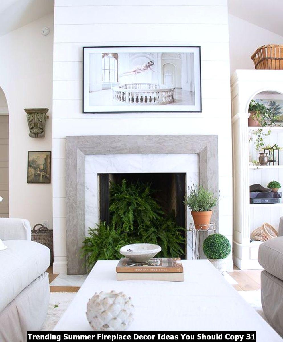 Trending Summer Fireplace Decor Ideas You Should Copy 31