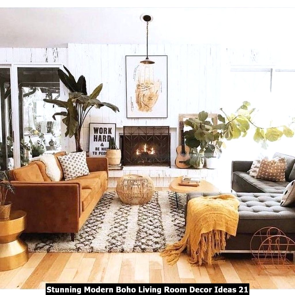 Stunning Modern Boho Living Room Decor Ideas 21