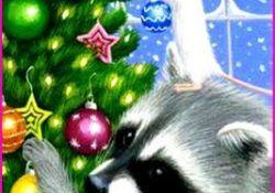 Racoon In Christmas Tree