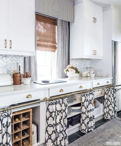 Magnificient Kitchen Cabinet Curtain Ideas To Look Stunning 54