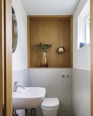 Inspiring Small Bathroom Design Ideas With Wood Decor To Inspire 33