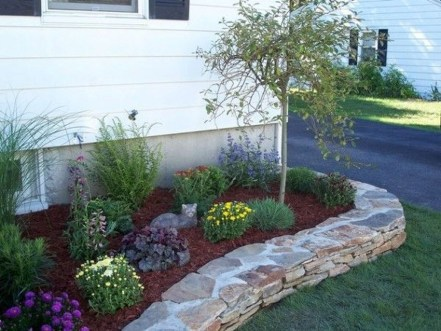 Modern Flower Beds Rocks Ideas For Front House To Try 15