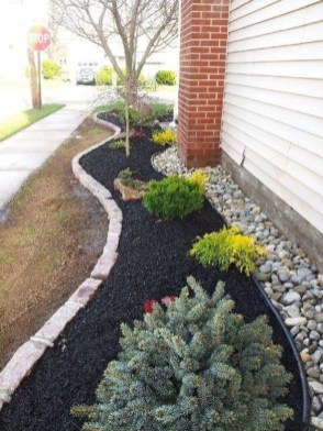 Modern Flower Beds Rocks Ideas For Front House To Try 24
