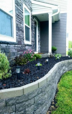 Modern Flower Beds Rocks Ideas For Front House To Try 26