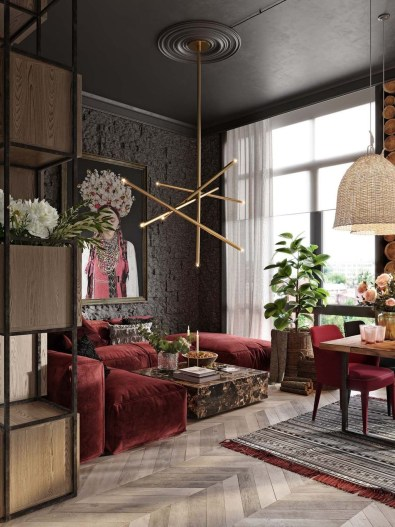 Superb Red Apartment Ideas With Rustic Accents 03