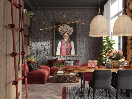 Superb Red Apartment Ideas With Rustic Accents 20