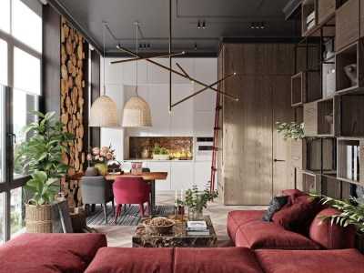 Superb Red Apartment Ideas With Rustic Accents 41