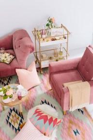 Cute Pink Lving Room Design Ideas 11