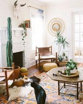 Elegant Bohemian Style Living Room Decoration Ideas 15