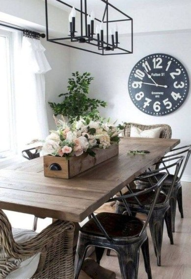 Easy Rustic Farmhouse Dining Room Makeover Ideas 10