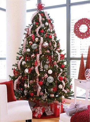 Awesome Red And White Christmas Tree Decoration Ideas 16