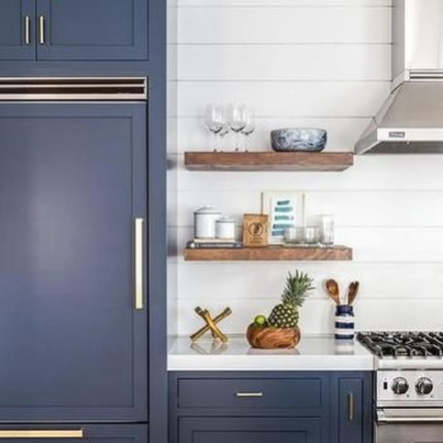 Elegant Navy Kitchen Cabinets For Decorating Your Kitchen 07