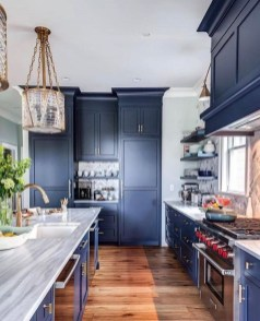 Elegant Navy Kitchen Cabinets For Decorating Your Kitchen 12