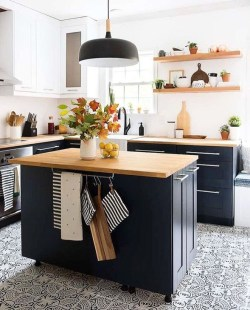 Elegant Navy Kitchen Cabinets For Decorating Your Kitchen 19