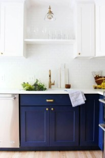 Elegant Navy Kitchen Cabinets For Decorating Your Kitchen 21