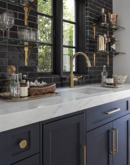 Elegant Navy Kitchen Cabinets For Decorating Your Kitchen 31