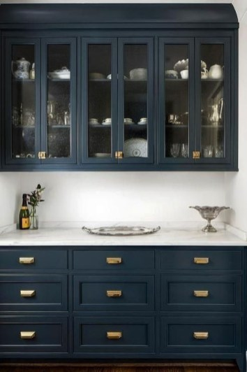 Elegant Navy Kitchen Cabinets For Decorating Your Kitchen 32