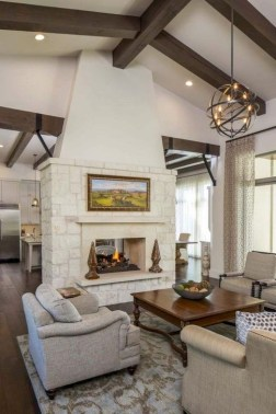 Rustic Farmhouse Fireplace Ideas For Your Living Room 08