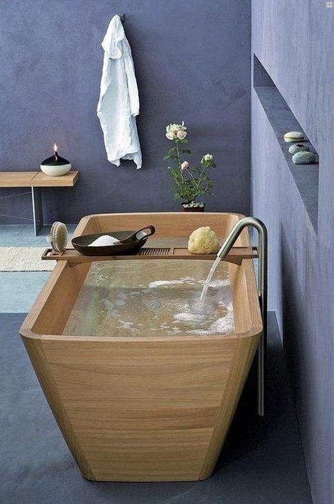 Marvelous Wooden Bathtub Design Ideas To Get Relax 27