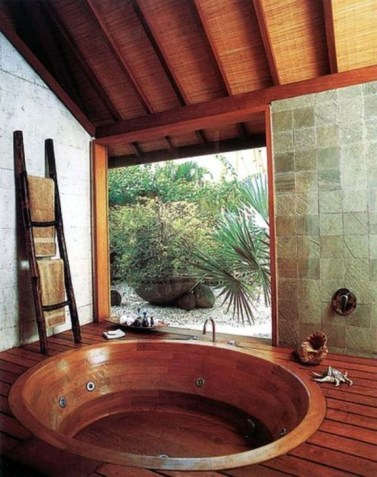 Marvelous Wooden Bathtub Design Ideas To Get Relax 42