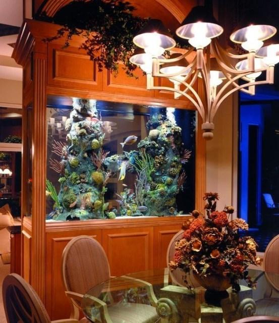 Modern Aquarium Partition Ideas For Living Room 07