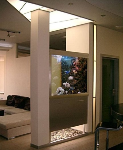 Modern Aquarium Partition Ideas For Living Room 20