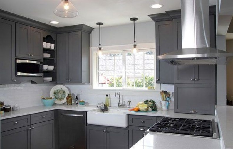 Stunning Dark Grey Kitchen Design Ideas 38