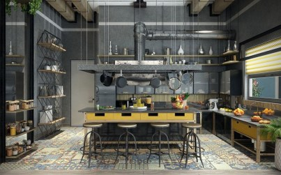 Attractive Kitchen Design Ideas With Industrial Style 22