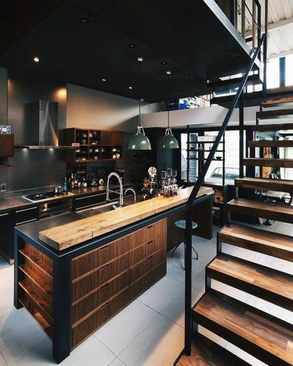 Attractive Kitchen Design Ideas With Industrial Style 43
