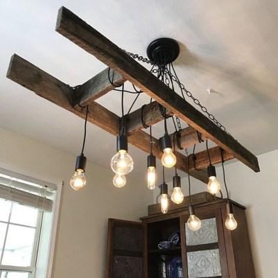 Magnificient Farmhouse Ladder Chandelier Ideas 03