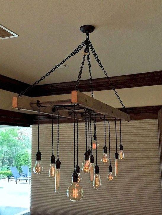 Magnificient Farmhouse Ladder Chandelier Ideas 23