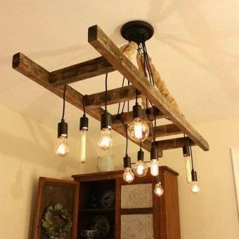 Magnificient Farmhouse Ladder Chandelier Ideas 38