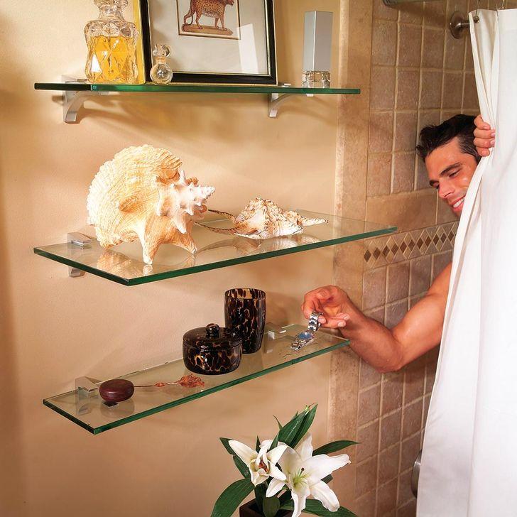 Perfect Glass Shelves Ideas For Bathroom Design 36