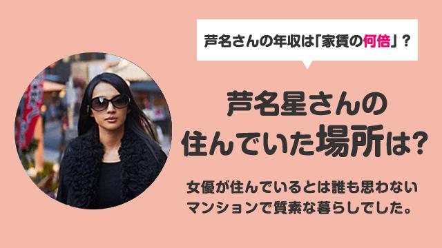 芦名星さんの自宅マンションは新宿の場所はどこ?年収は幾らなの?