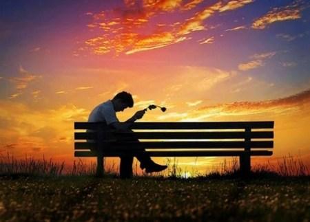 Sad boy alone love setting holding Rose