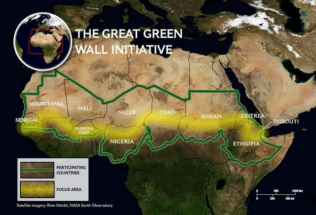 The Great Green Wall in Africa Map