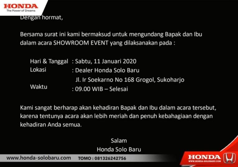 Promo Showroom Event Awal Tahun Dealer Honda Solo Baru