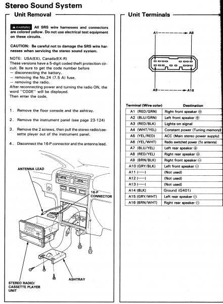 94 accord ex radio wiring  hondatech  honda forum discussion