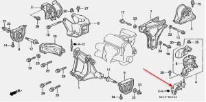 Si engine mount part number ( near cam gears )  HondaTech
