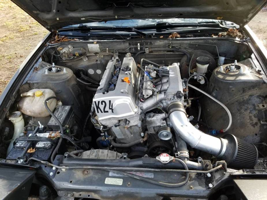 K24 swapped 240SX engine bay