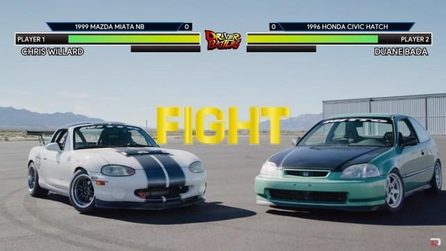 Honda Civic EK vs Miata Track Battle