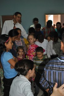 Praying with the kids after Sunday School