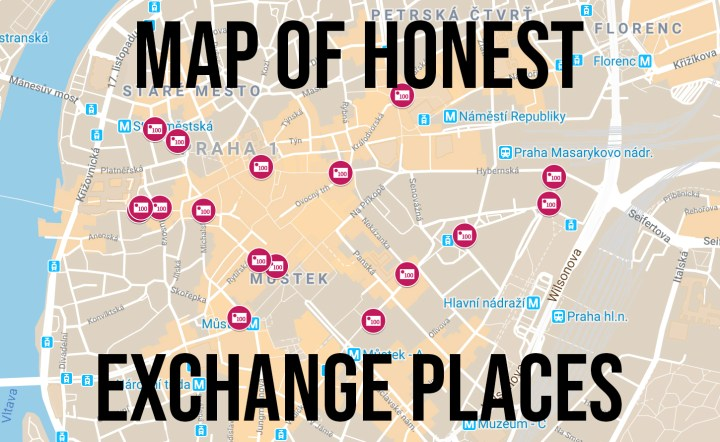 MAP OF HONEST EXCHANGE PLACES – Prague